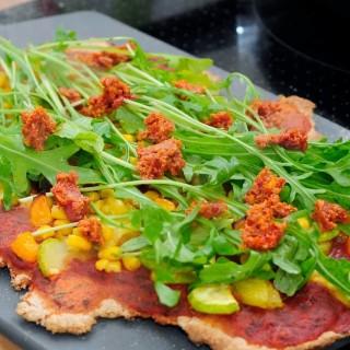 Vegetable Arugula Whole Wheat Pizza with Sundried Tomato Pesto