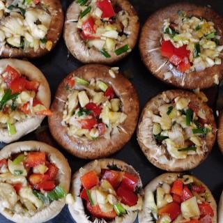 Vegetable and Garlic Stuffed Mushrooms