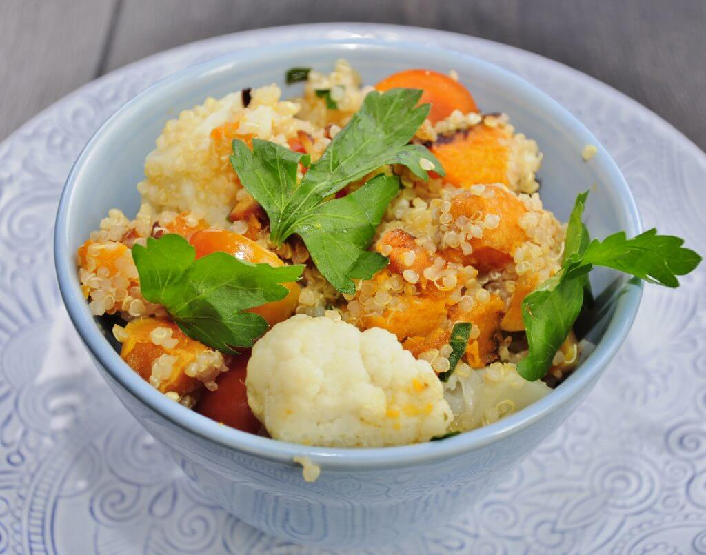 sweet potato quinoa salad with cauliflower and tomatoes