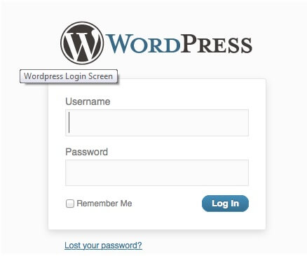Wordpress login screen - start a food blog