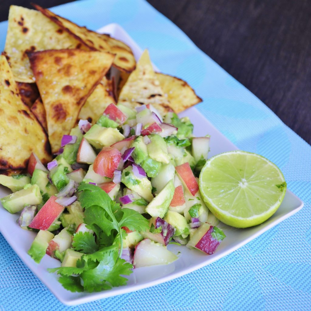 Avocado Peach Salsa with healthy chips Recipe - Vegan Family Recipes