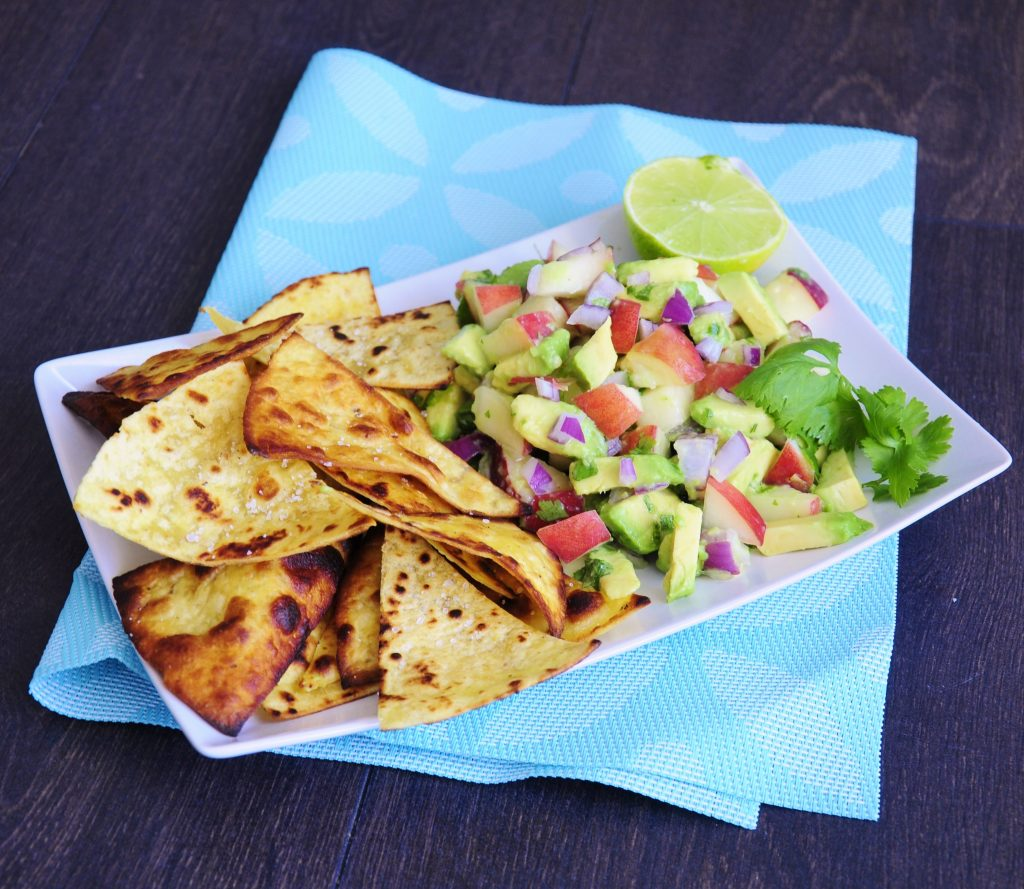 Avocado Peach Salsa with Coconut Oil Tortilla Chips Recipe - Vegan Family Recipes