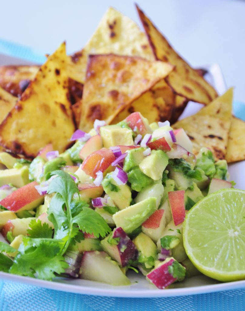 Avocado Peach Salsa Recipe with Coconut Oil Chips - Vegan Family Recipes