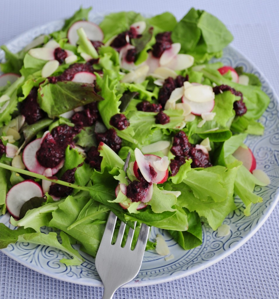 Radish Salad with blueberry dressing - Vegan Family Recipes