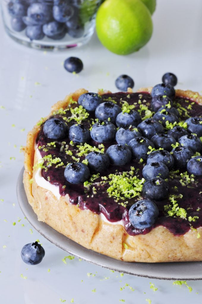 Vegan Blueberry Cheesecake Recipe with Lime - Vegan Family Recipes #dessert #cake #cashews