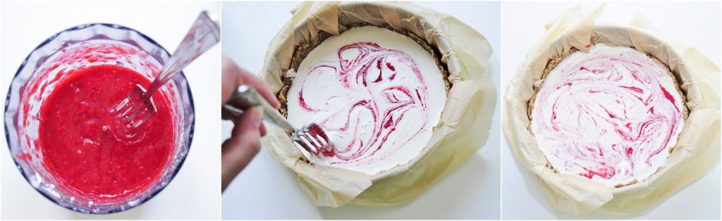 Vegan Lemon Cheesecake with Raspberry Swirl Recipe - Vegan Family Recipes #dessert #glutenfree