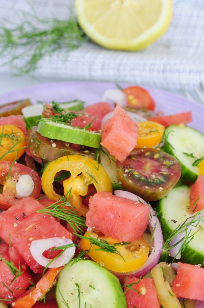 Watermelon Tomato Salad Recipe - Vegan Family Recipes