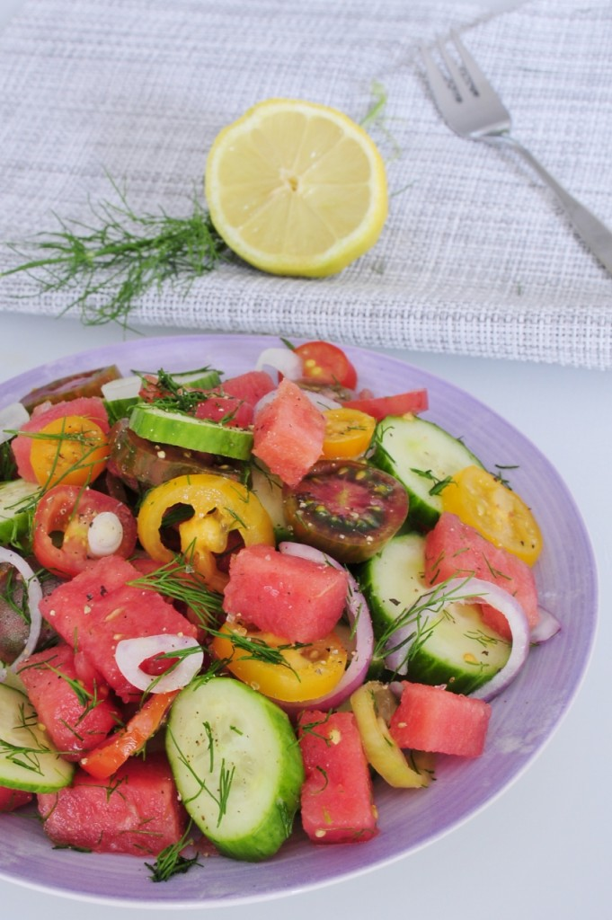 Heirloom Tomato Salad Recipe with Watermelon and Dill - Vegan Family Recipes