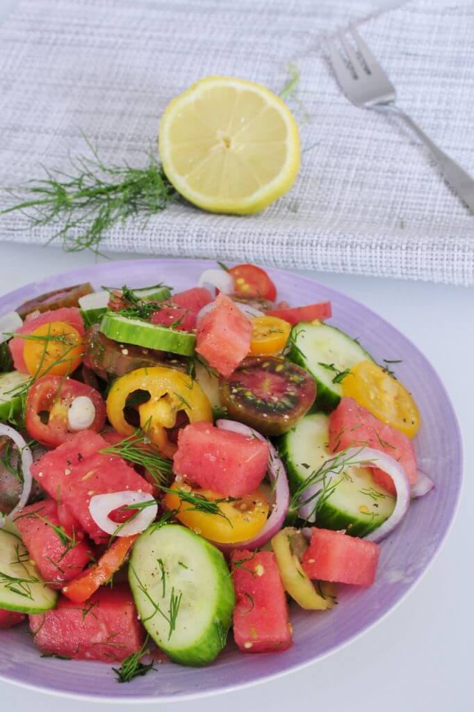 Heirloom Tomato Salad Recipe with Watermelon and Dill - Vegan Family ...