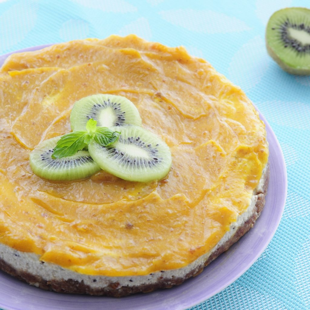 Kiwi Mango Tropical Cheesecake Recipe - Vegan Family Recipes