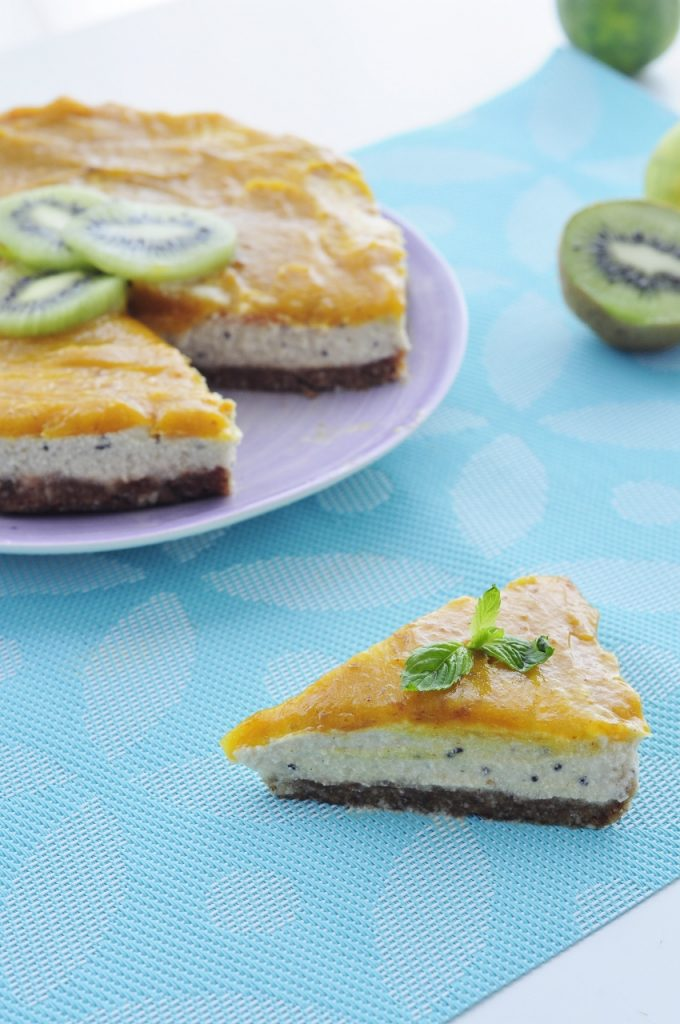 Vegan Kiwi Mango Cheesecake