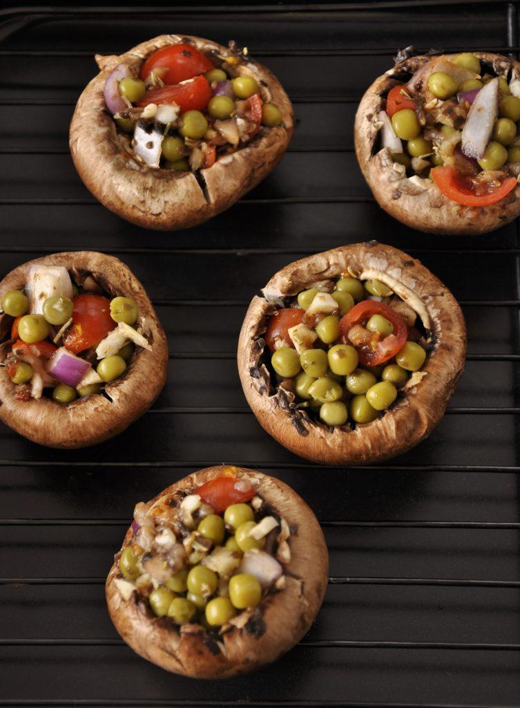 Stuffed Pea and Garlic Mushrooms Recipe - Vegan Family Recipes
