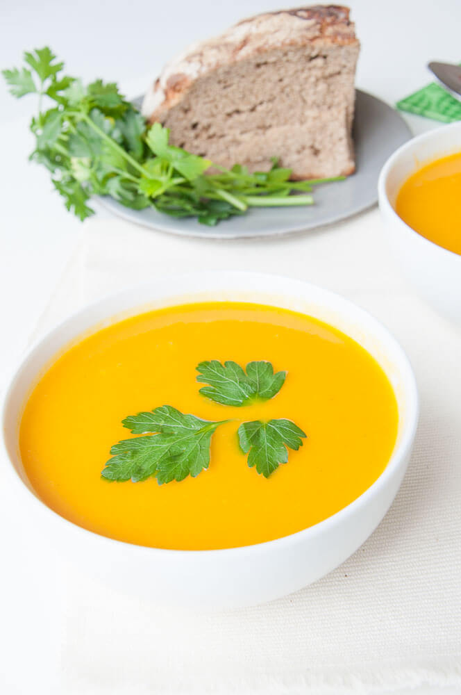 Vegan Carrot Soup with Ginger Recipe - Vegan Family Recipes #soups #gf #paleo