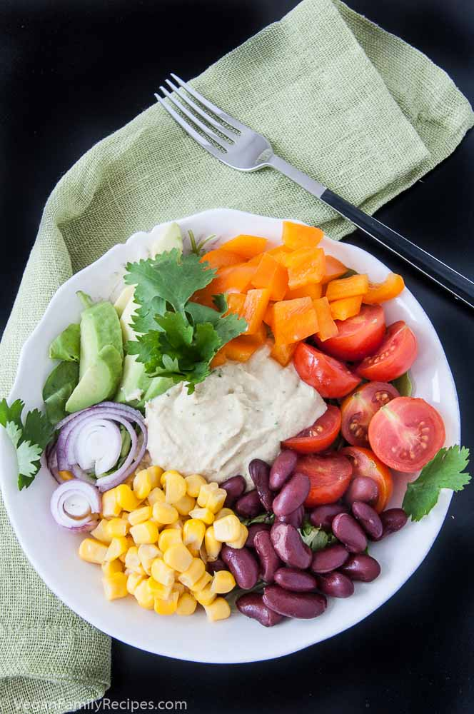 Mexican Hummus Salad Recipe - Vegan Family Recipes