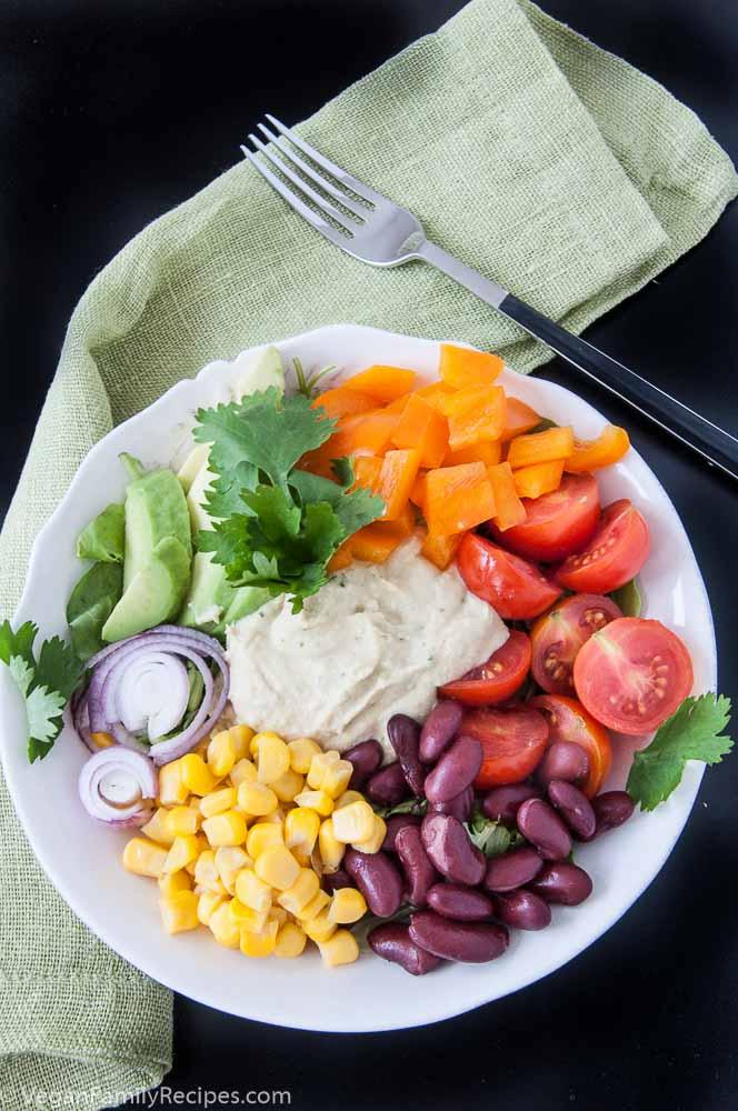 Mexican Hummus Salad Recipe - Vegan Family Recipes