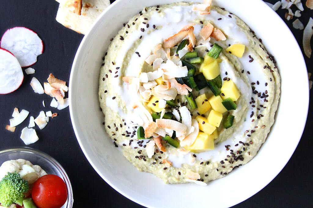 Poblano Hummus w/ Mango & Coconut Recipe - Best Hummus Recipes