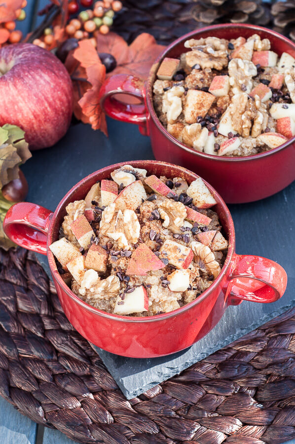 Healthy Apple Cinnamon Walnut Quinoa Breakfast Bowl Recipe - Vegan Family Recipes
