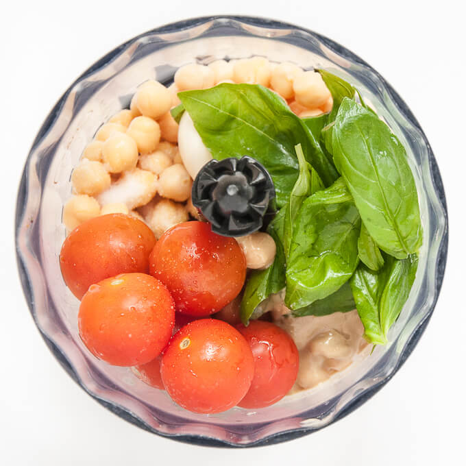 Fresh Tomato Basil Hummus Recipe Ingredients - Vegan Family Recipes