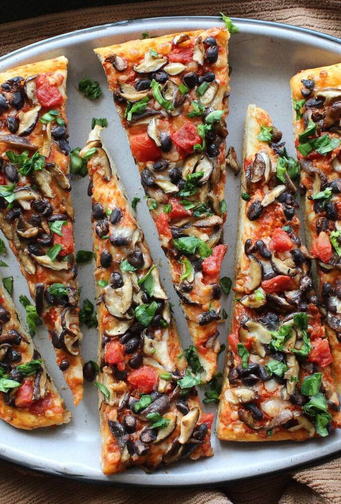 Mexican Style Baby Shiitake Mushroom Pizza - Best Vegan Pizza Recipes