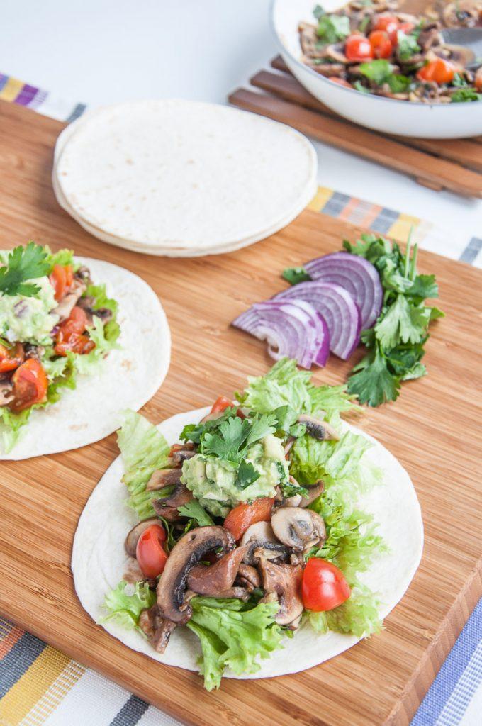 Vegan Mushroom tacos recipe healthy gluten-free taco sauce cremini mushrooms- vegan family recipes