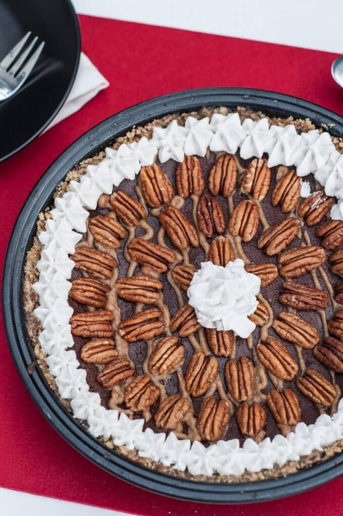 Chocolate Caramel Pecan Pie (V,GF,P) - Vegan Family Recipes