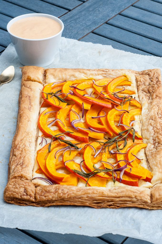 Savory Pumpkin Tart Recipe Puff pastry - Vegan Family Recipes