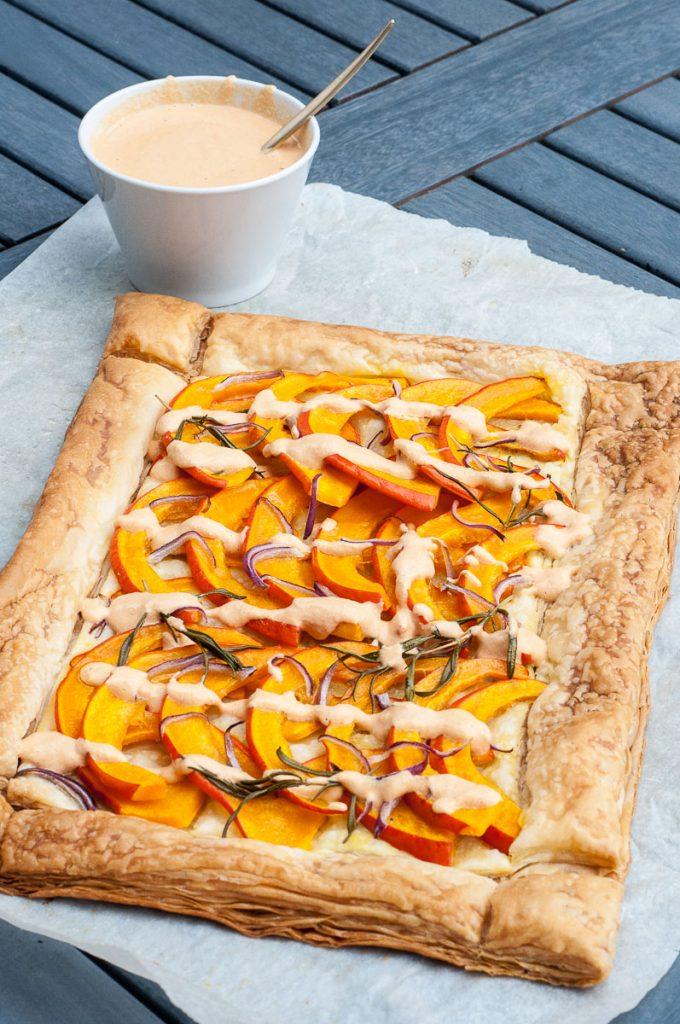 Savory Pumpkin Tart Recipe Puff pastry - Vegan Family Recipes