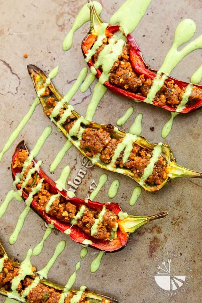 Stuffed Anaheim Peppers Vegan - Vegan Thanksgiving Recipes Feast