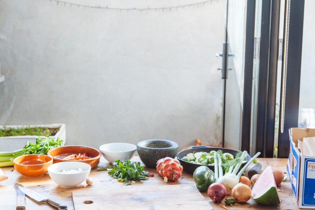 Thanksgiving kitchen ingredients prep - Vegan Family Recipes