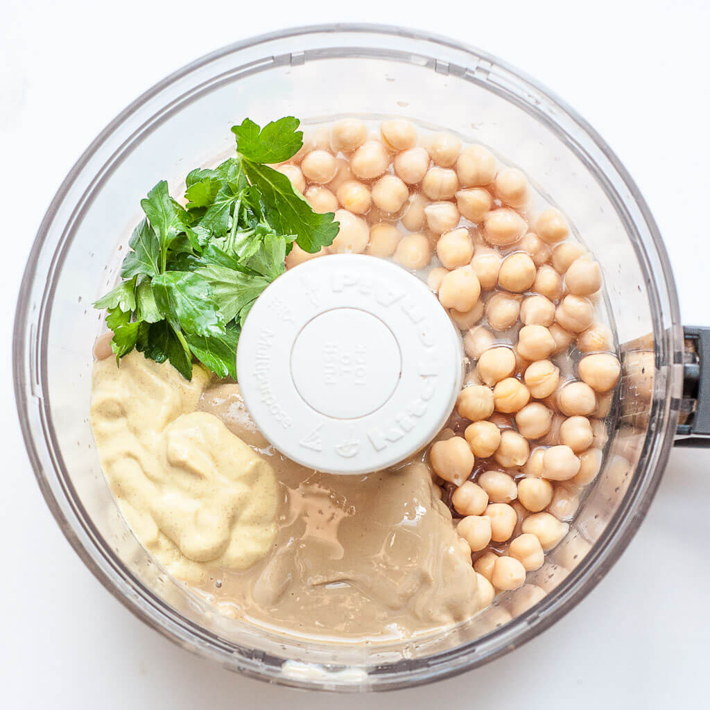 creamy hummus recipe with mustard, parsley, tahini - Vegan Family Recipes
