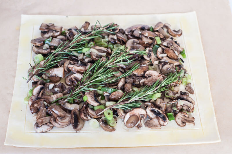 Rosemary Mushroom Tart Recipe Puff Pastry how to score border - Vegan Family Recipes