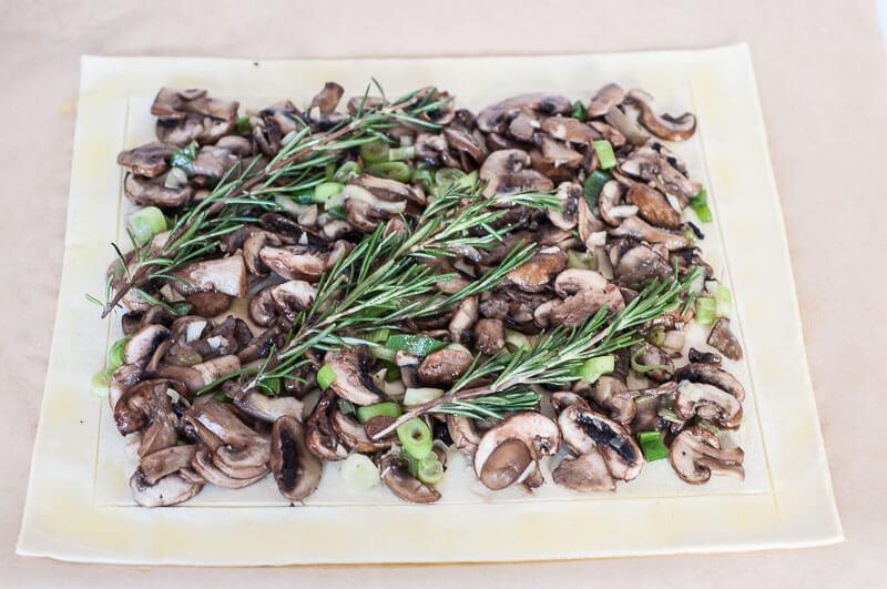 Rosemary Mushroom Tart Recipe Puff Pastry how to score border - Vegan Family Recipes