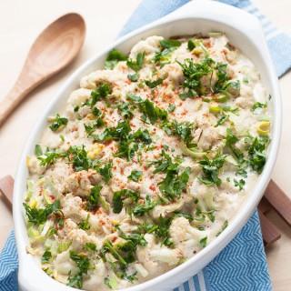 Vegan Cauliflower Leek Casserole