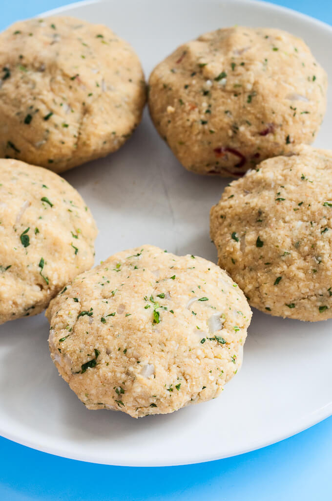 uncooked couscous burgers with fresh herbs onion and garlic - vegan family recipes