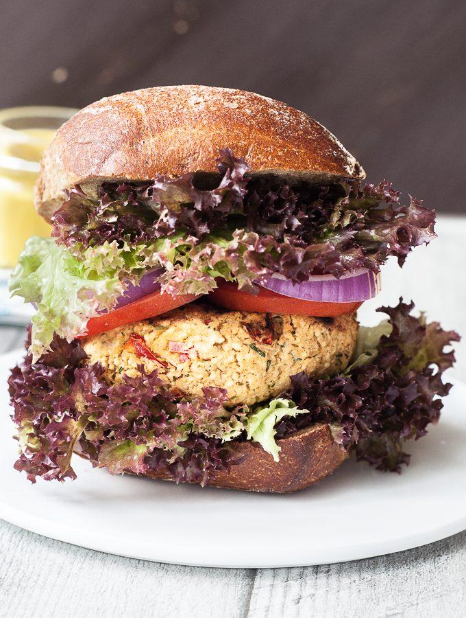 Healthy Couscous Burger Recipe with Garlic Coconut Sauce | VeganFamilyRecipes.com | #bbq #vegan #vegetarian