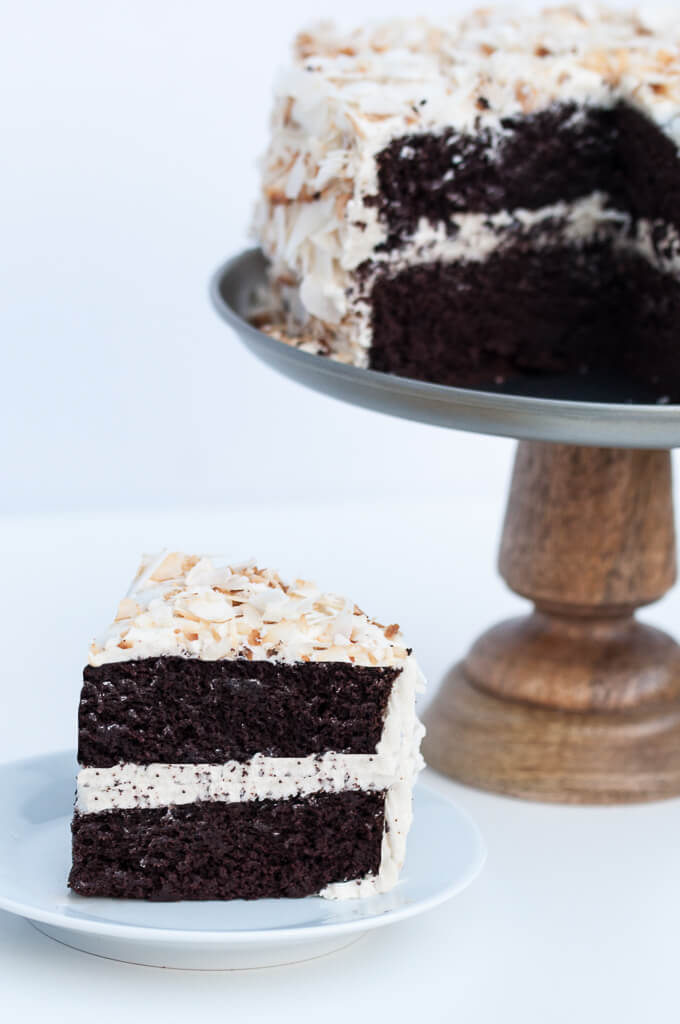 Vegan Coconut Chocolate Cake w/ Vanilla Coconut Oil Frosting - Vegan Family Recipes