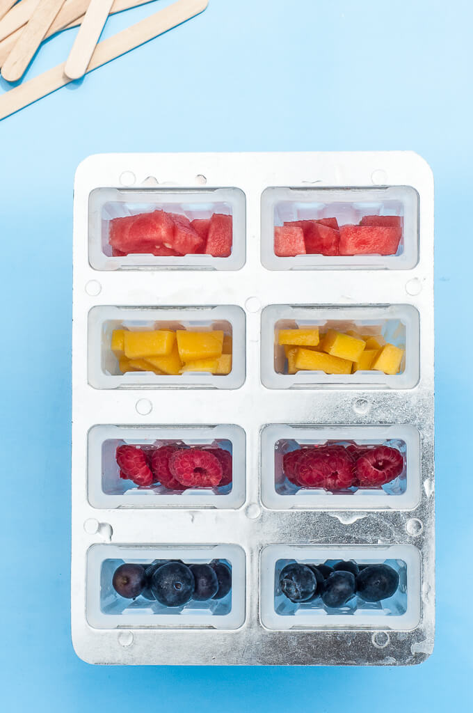 Best Popsicle Mold for Coconut Water Popsicles or Ice Pops with fruit - Mango, Watermelon, Raspberries, and Blueberries - Vegan Family Recipes